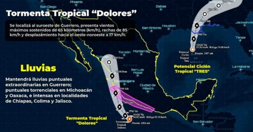 """Confirman formación de tormenta tropical """"Dolores"""""""